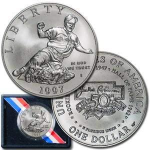 1997-S Jackie Robinson $1 Silver Commem BU (w/Box &