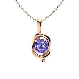 1.06 ctw Tanzanite Necklace 14K Rose Gold