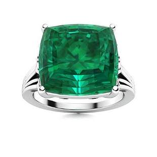 Natural 4.63 CTW Emerald Solitaire Ring 14K White Gold