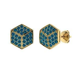 1.24 CTW London Blue Topaz Halo Earrings 14K Yellow
