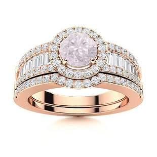 Natural 1.38 CTW Rose Quartz & Diamond Engagement Ring