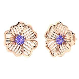 1.46 CTW Tanzanite Halo Earrings 18K Rose Gold