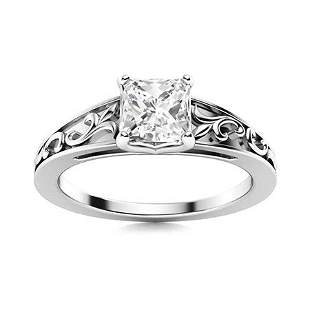 Natural 1.51 CTW Diamond Solitaire Ring 14K White Gold