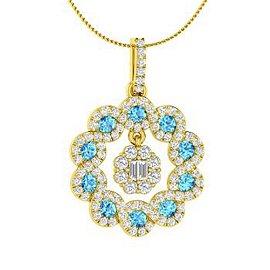 1.09 ctw Topaz & Diamond Necklace 14K Yellow Gold