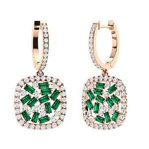 3.23 CTW Emerald & Diamond Drops Earrings 18K Rose Gold