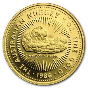 1986 Australia 1/2 oz Proof Gold Nugget