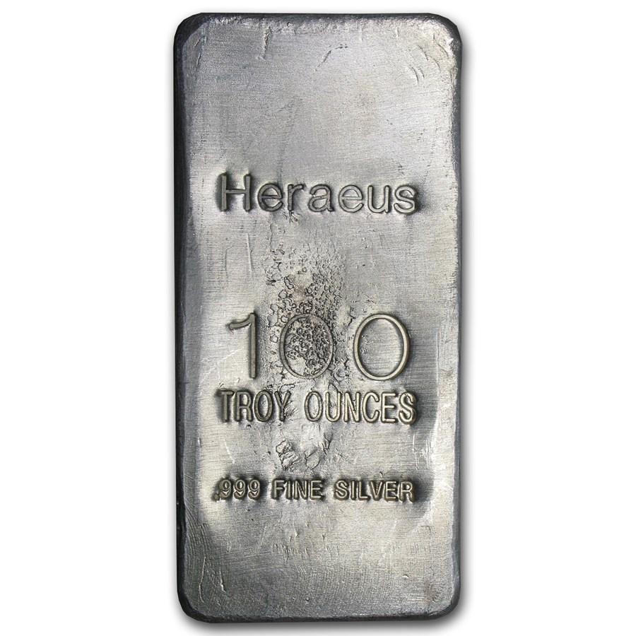 100 oz Cast-Poured Silver Bar - Argor-Heraeus
