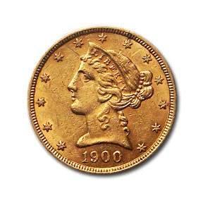 1900 $5 Liberty Gold Half Eagle AU