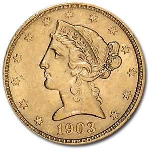 1903-S $5 Liberty Gold Half Eagle AU