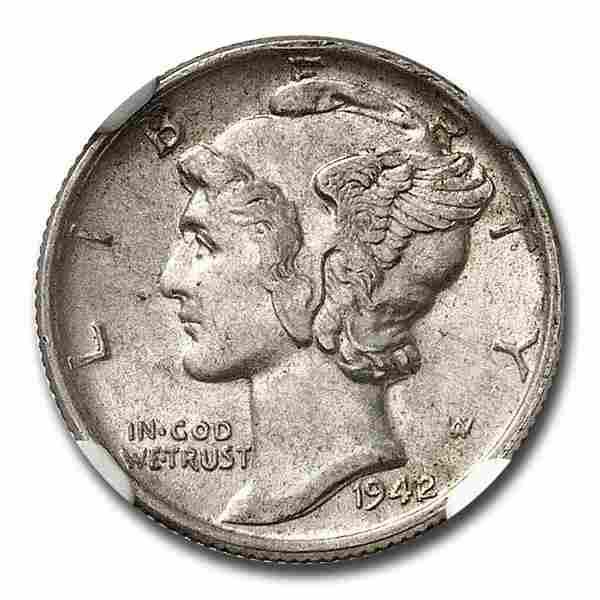 1942/41 Mercury Dime MS-61 NGC