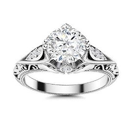 Natural 1.14 CTW Diamond Solitaire Ring 18K White Gold