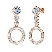 2.96 CTW Aquamarine Drops Earrings 18K Rose Gold