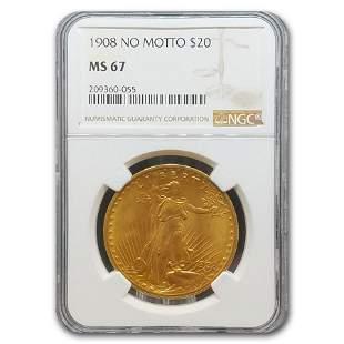 1908 $20 Saint-Gaudens Gold Double Eagle No Motto MS-67