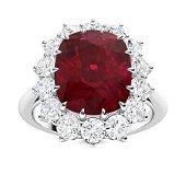 Natural 4.87 CTW Ruby & Diamond Engagement Ring 14K