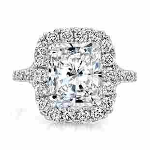 Natural 3.87 CTW Halo Radiant Cut Split Shank Diamond