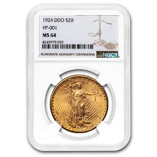 1924 $20 Saint-Gaudens Gold Double Eagle MS-64 NGC (DDO