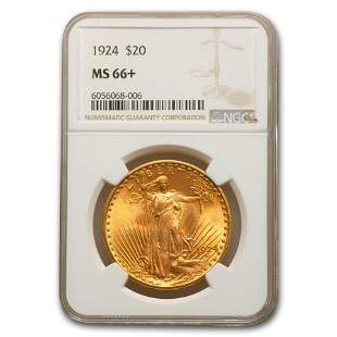 1924 $20 Saint-Gaudens Gold Double Eagle MS-66+ NGC