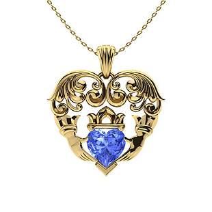 0.59 ctw Ceylon Sapphire Necklace 18K Yellow Gold
