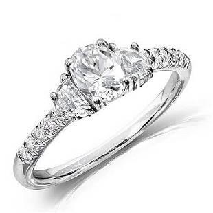 Natural 2.52 CTW Oval Cut & Half Moons Diamond Ring