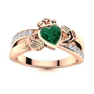 Natural 0.77 CTW Emerald & Diamond Engagement Ring 18K