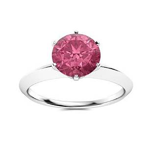 Natural 1.72 CTW Tourmaline Solitaire Ring 18K White