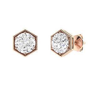 0.96 CTW Diamond Studs Earrings 18K Rose Gold