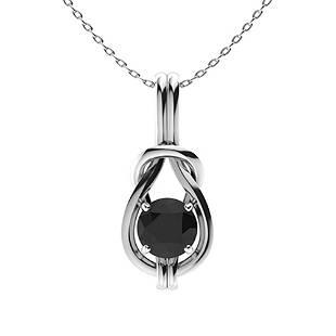 1.27 ctw Black Diamond Necklace 14K White Gold