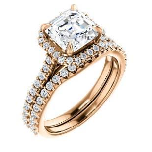 Natural 3.12 CTW Halo Asscher Cut Diamond Ring 14KT