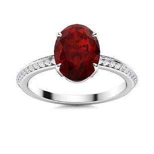 Natural 3.26 CTW Garnet & Diamond Engagement Ring 14K