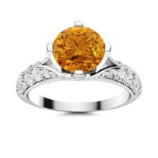 Natural 2.23 CTW Citrine & Diamond Engagement Ring 14K