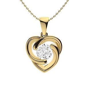 1.06 ctw White Topaz Necklace 14K Yellow Gold