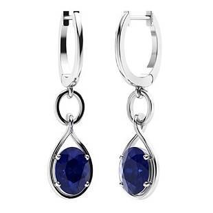 3.92 CTW Sapphire Drops Earrings 18K White Gold