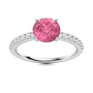 Natural 0.97 CTW Tourmaline & Diamond Engagement Ring