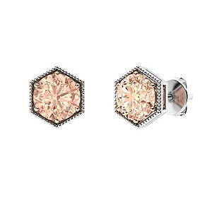 1.26 CTW Morganite Studs Earrings 18K White Gold