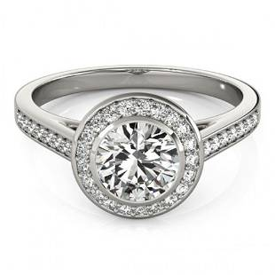 Natural 1.3 ctw Diamond Solitaire Halo Ring 14k White