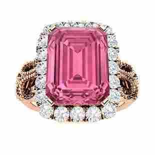 Natural 4.56 CTW Tourmaline & Diamond Engagement Ring