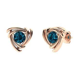 2.46 CTW London Blue Topaz Studs Earrings 18K Rose Gold