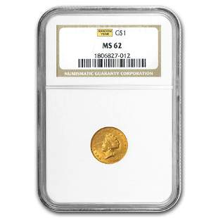 $1 Indian Head Gold Dollar Type 2 MS-62 NGC/PCGS