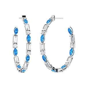 3.12 CTW Blue Topaz Hoops Earrings 14K White Gold