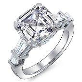 Natural 5.82 CTW Asscher Baguette Diamond Engagement