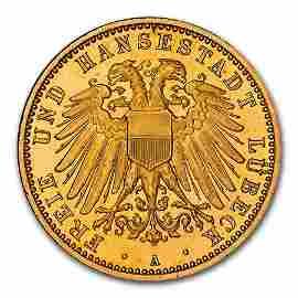 1910 German States Lubeck Gold 10 Mark PF-67 NGC (UCAM)