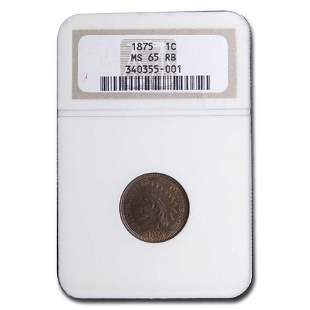 1875 Indian Head Cent MS-65 NGC (Red/Brown)