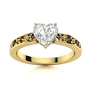 Natural 0.52 CTW Diamond Solitaire Ring 18K Yellow Gold
