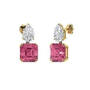 5.56 CTW Pink Tourmaline & Diamond Drops Earrings 18K