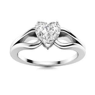Natural 1.52 CTW Diamond Solitaire Ring 18K White Gold