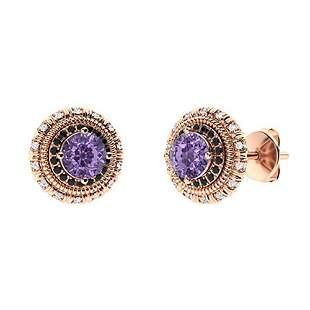1.174 CTW Iolite Halo Earrings 14K Rose Gold