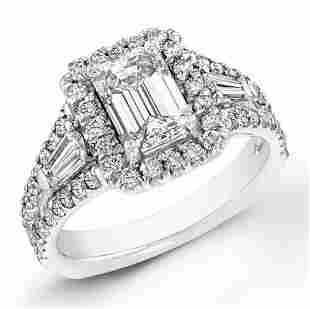 Natural 2.52 CTW Halo Emerald Cut Diamond Ring 14KT