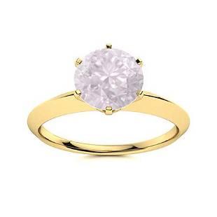 Natural 1.22 CTW Rose Quartz Solitaire Ring 18K Yellow