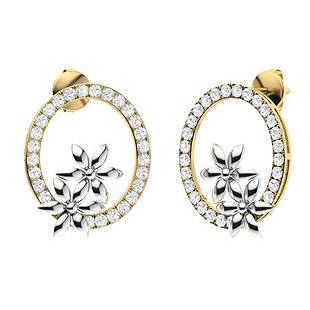 1.52 CTW White Topaz & Diamond Halo Earrings 14K Yellow