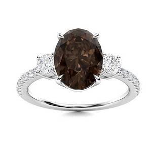 Natural 1.79 CTW Smoky Quartz & Diamond Engagement Ring